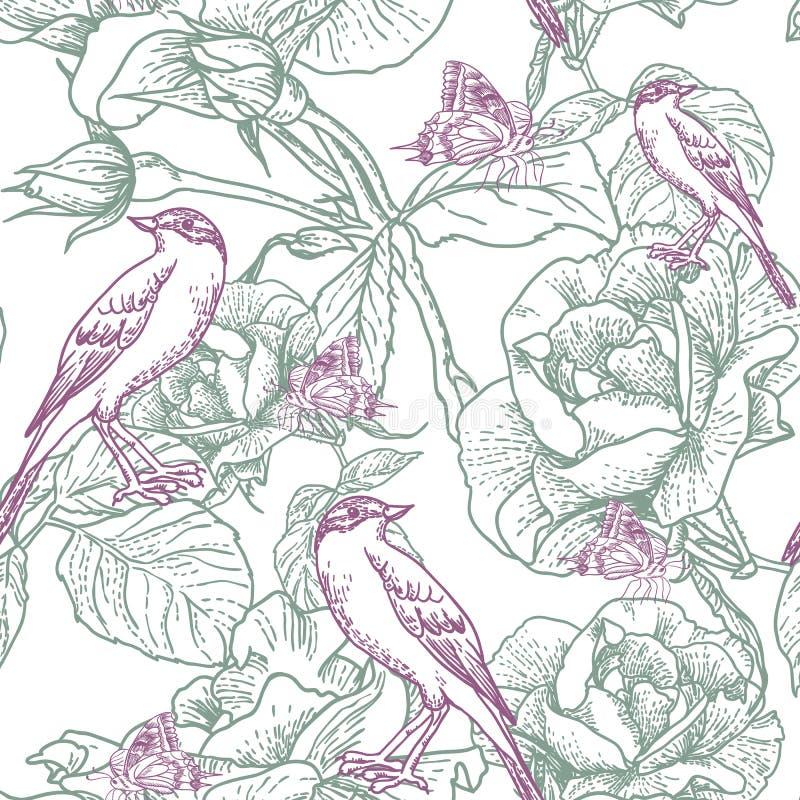 Fundo sem emenda com rosas e pássaros ilustração royalty free