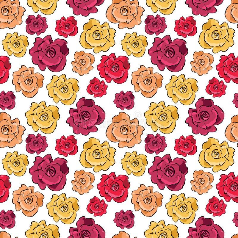 Fundo sem emenda com rosas - teste padrão do vetor ilustração stock