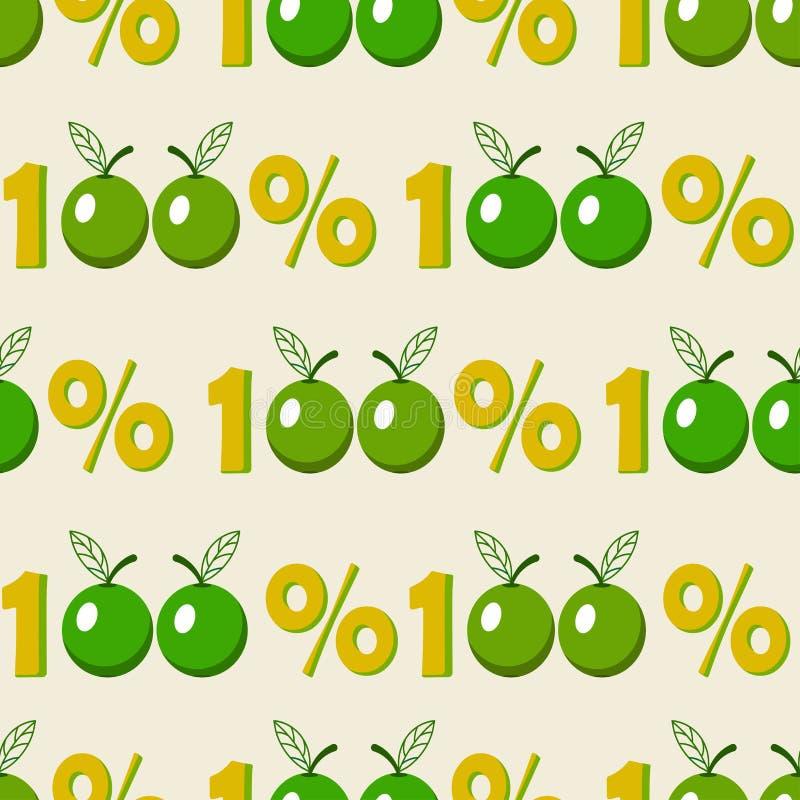 Fundo sem emenda com símbolo verde da maçã de cem por cento ilustração stock