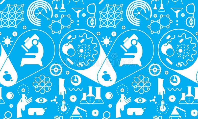 Fundo sem emenda com símbolos da ciência ilustração royalty free