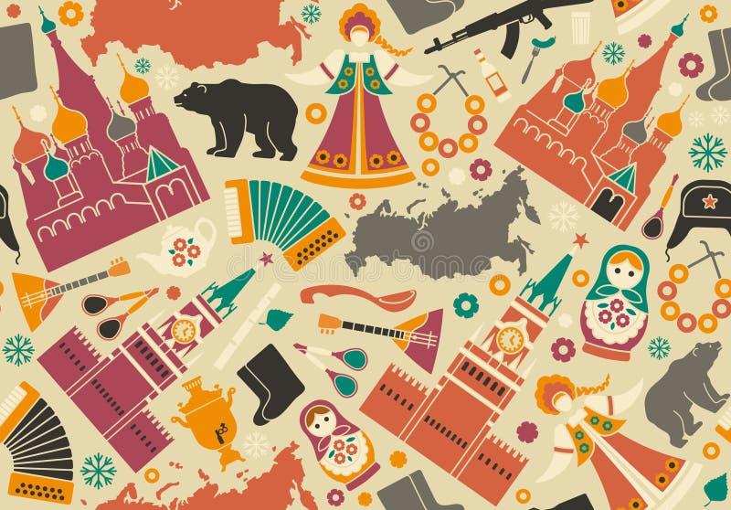 Fundo sem emenda com símbolos de Rússia ilustração stock