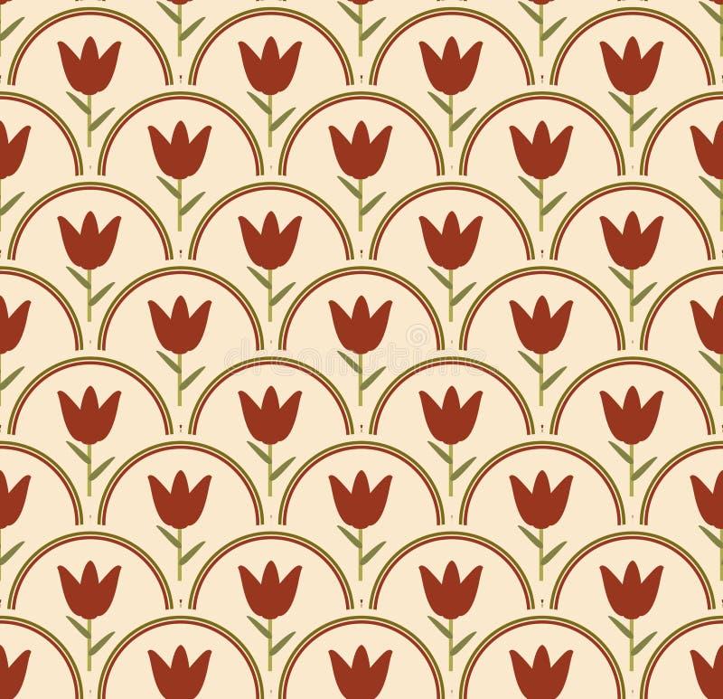 Fundo sem emenda com a tulipa no círculo em cores nostálgicas ilustração royalty free