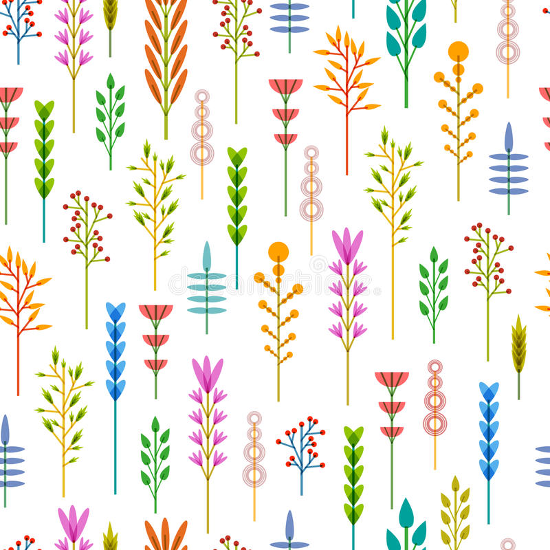 Fundo sem emenda com um teste padrão de flores geométricas Fundo floral Fundo do verão com o projeto de planta dentro ilustração stock