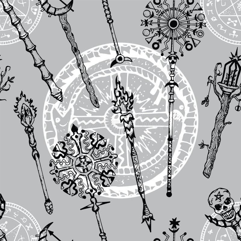 Fundo sem emenda com varinhas mágicas e símbolo misterioso do dragão ilustração do vetor