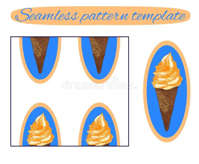 Fundo sem emenda: cone de gelado no branco Molde do vetor Gelado com creme alaranjado no azul ilustração royalty free