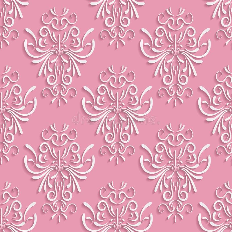 Fundo sem emenda cor-de-rosa com teste padrão 3d floral ilustração stock