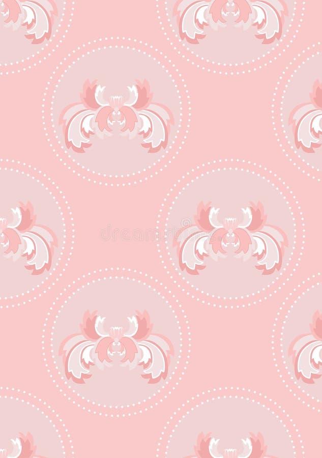 Fundo sem emenda cor-de-rosa delicado com flor ilustração do vetor