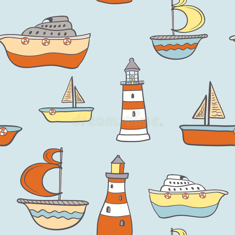 Fundo sem emenda criançola bonito com navios ilustração royalty free