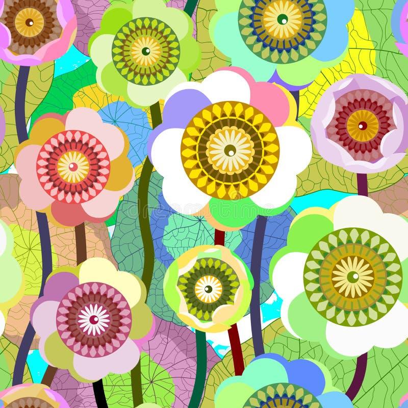 Fundo sem emenda criativo da flor. ilustração royalty free