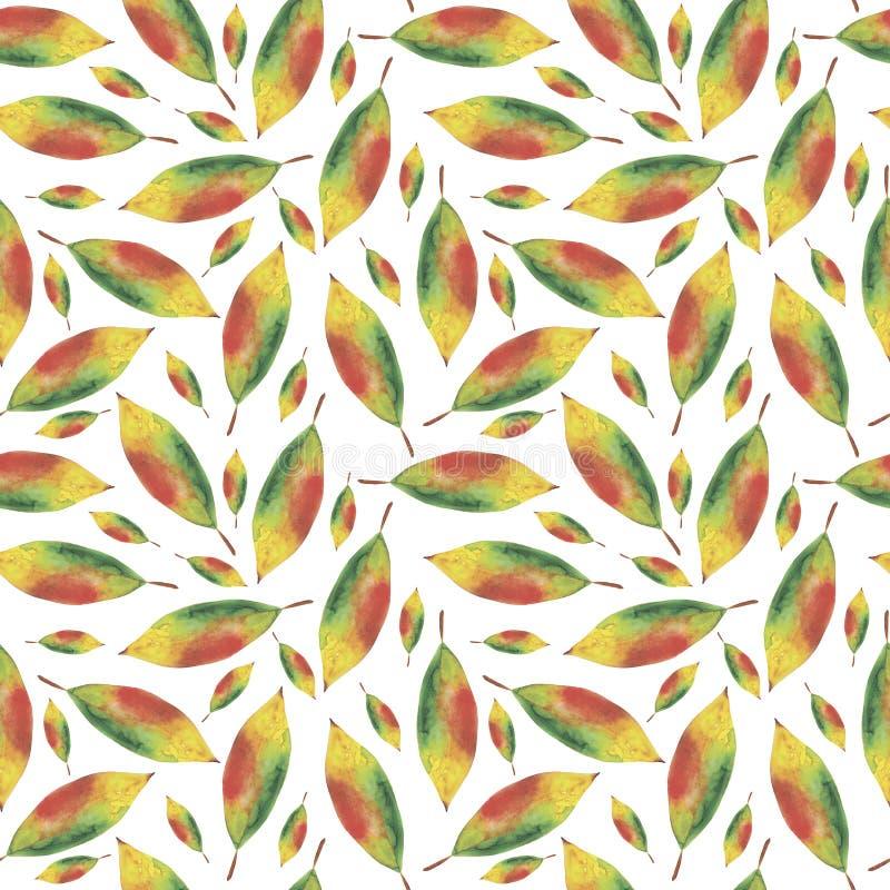 Fundo sem emenda da aquarela das folhas do outono ilustração do vetor