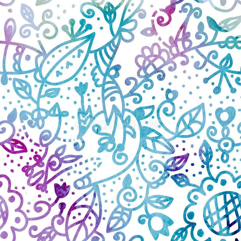 Fundo sem emenda da aquarela floral no azul ilustração royalty free
