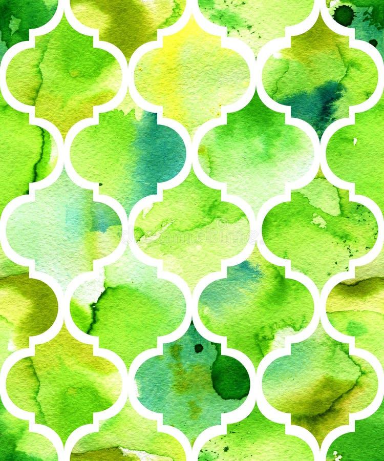 Fundo sem emenda da aquarela no verde Teste padrão bonito no estilo marroquino fotografia de stock royalty free