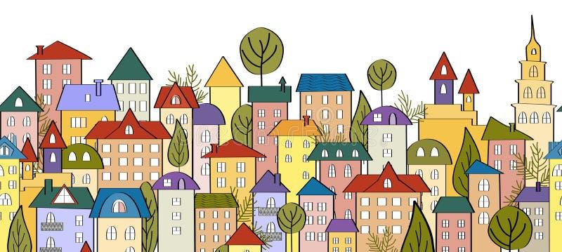 Fundo sem emenda da bandeira com fileiras de casas coloridas dos desenhos animados imagens de stock royalty free