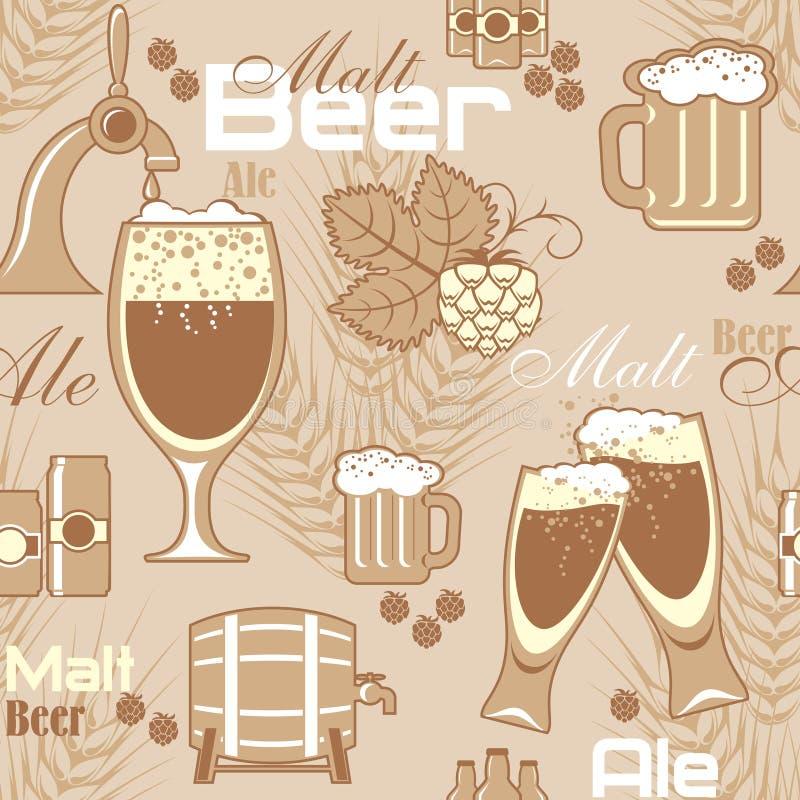 Fundo sem emenda da cerveja ilustração royalty free