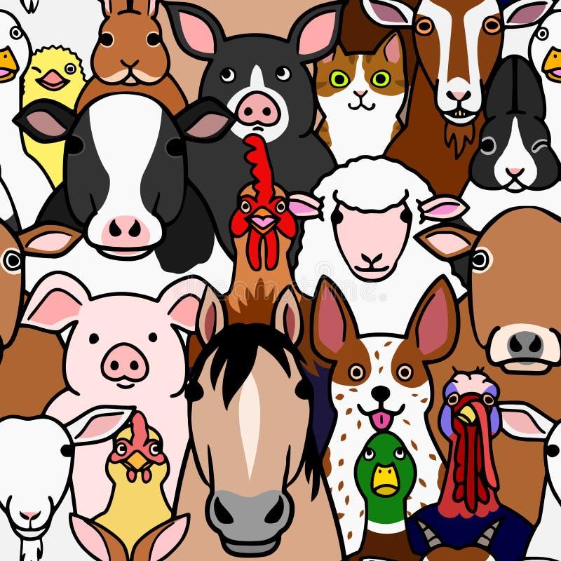 Fundo sem emenda da cor das caras dos animais de exploração agrícola da garatuja ilustração do vetor