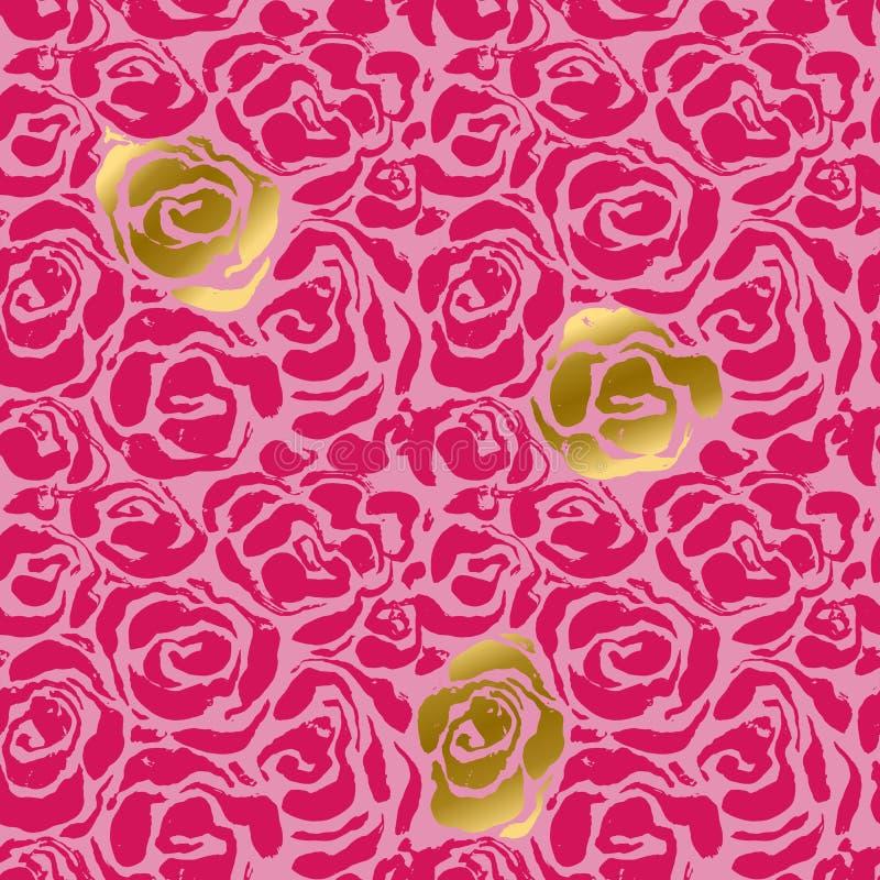 Fundo sem emenda da flor da tinta abstrata do grunge Rosa de rosas e teste padrão da escova do ouro Ilustração do vetor ilustração royalty free