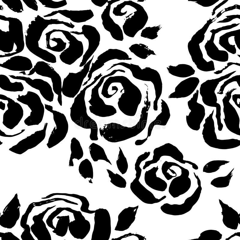 Fundo sem emenda da flor da tinta abstrata do grunge Teste padrão da escova das rosas Ilustração do vetor ilustração stock