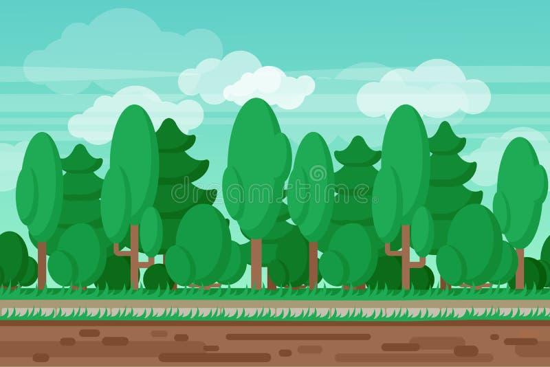 Fundo sem emenda da floresta da paisagem do verão do jogo ilustração do vetor