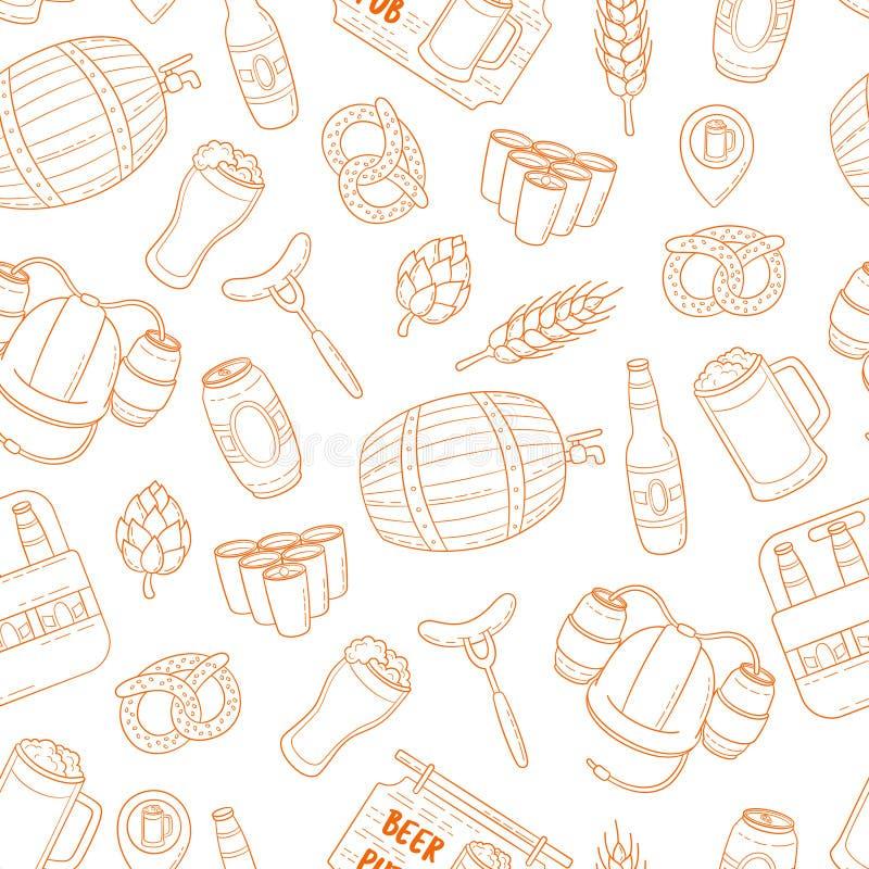 Fundo sem emenda da garatuja dos desenhos animados da cerveja do vetor, teste padrão, textura, molde, papel de parede Contexto pa ilustração stock