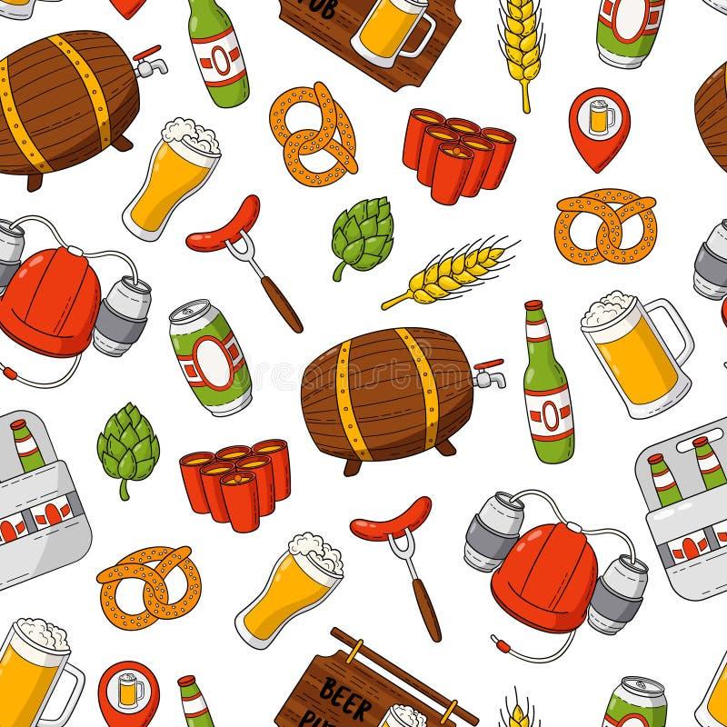 Fundo sem emenda da garatuja dos desenhos animados da cerveja do vetor, teste padrão, textura, molde, papel de parede Contexto pa ilustração do vetor
