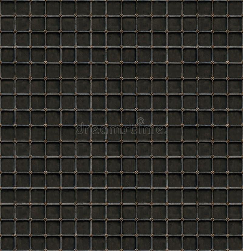 Fundo sem emenda da grelha preta do metal com pilhas quadradas foto de stock royalty free