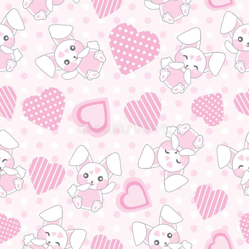 Fundo sem emenda da ilustração do dia do ` s do Valentim com o coelho cor-de-rosa bonito com forma do amor no fundo do às bolinha ilustração do vetor