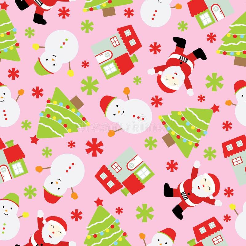 Fundo sem emenda da ilustração do Natal com Santa Claus bonito, o boneco de neve e a árvore do Xmas no fundo cor-de-rosa apropria ilustração stock