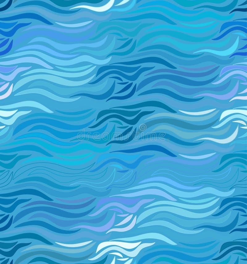 Fundo sem emenda da onda do vetor de linhas tiradas ilustração stock