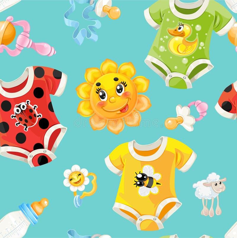 Fundo sem emenda da roupa e dos brinquedos das crianças ilustração do vetor