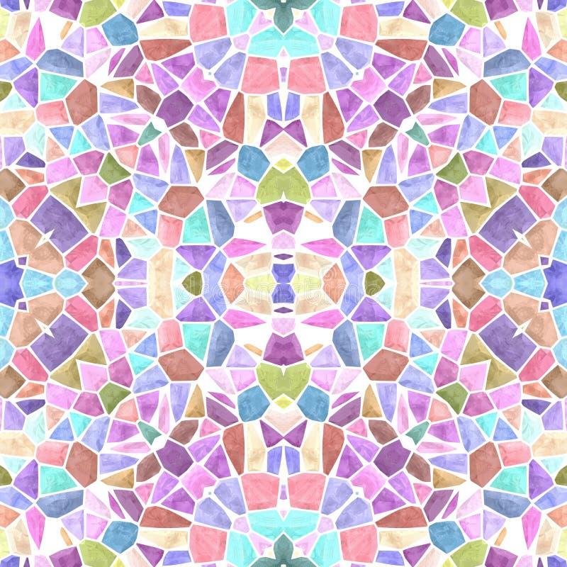 Fundo sem emenda da textura do caleidoscópio do mosaico - multi pastel doce colorido com grout branco ilustração stock