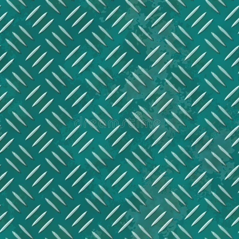 Fundo sem emenda da textura da folha de metal - placa do diamante - cor verde azul ilustração stock