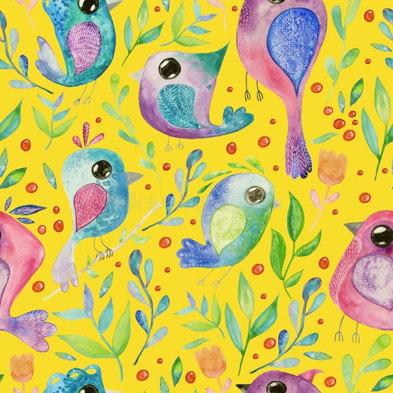 Fundo sem emenda da tração da mão da aquarela com pássaros ilustração stock