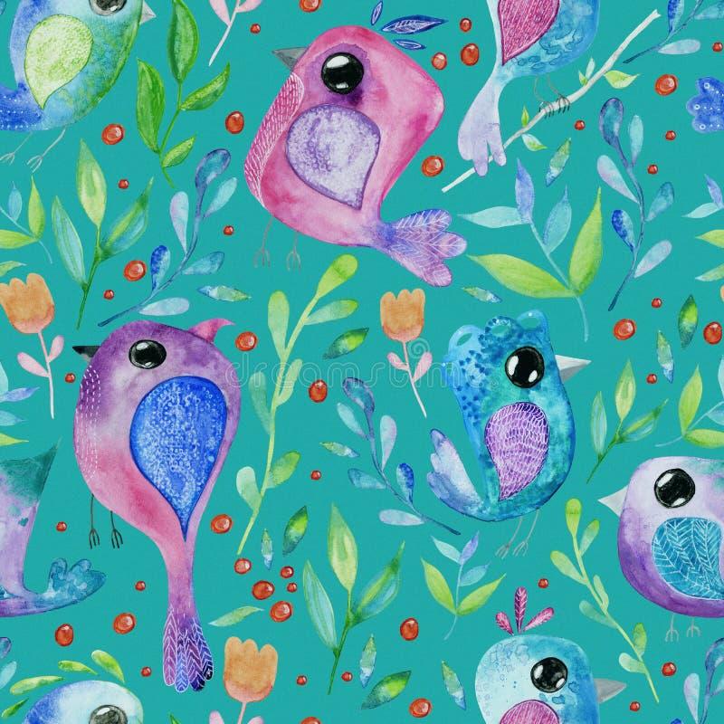Fundo sem emenda da tração da mão da aquarela com pássaros ilustração royalty free