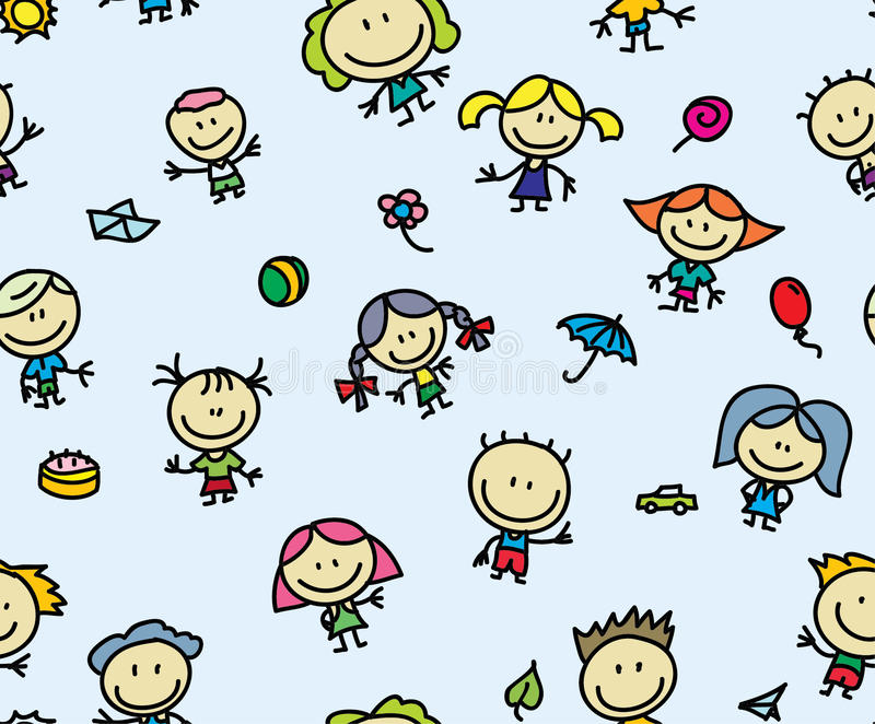 Fundo sem emenda das crianças felizes ilustração royalty free