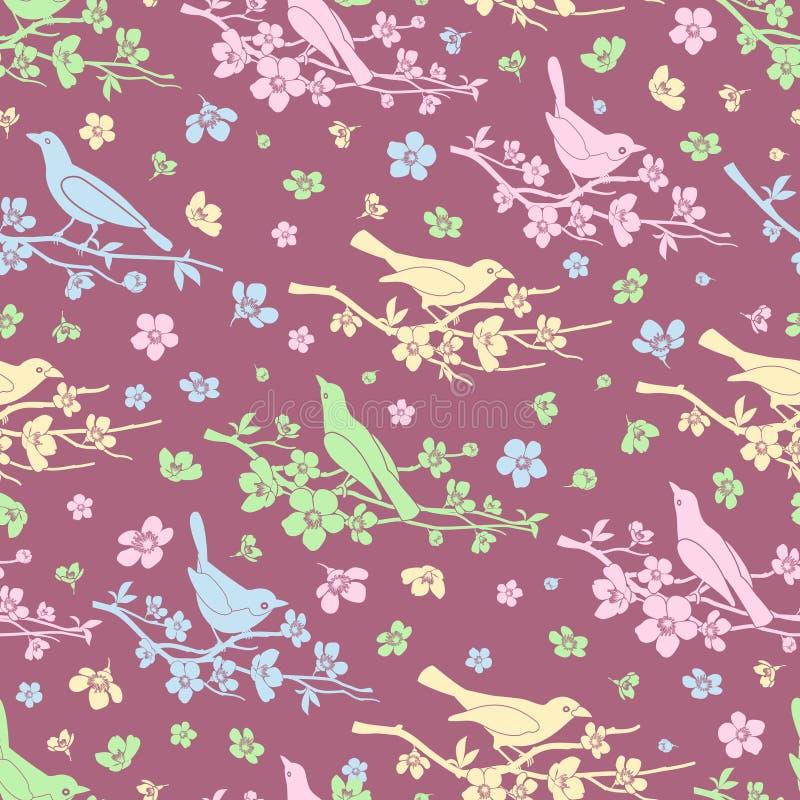 Fundo sem emenda das flores e dos pássaros ilustração royalty free