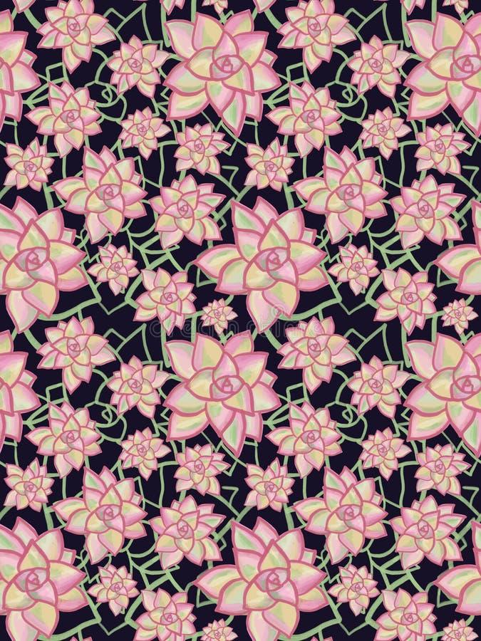 Fundo sem emenda das flores suculentos abstratas Plantas verdes e cor-de-rosa da flor no fundo preto Teste padrão floral moderno  ilustração stock