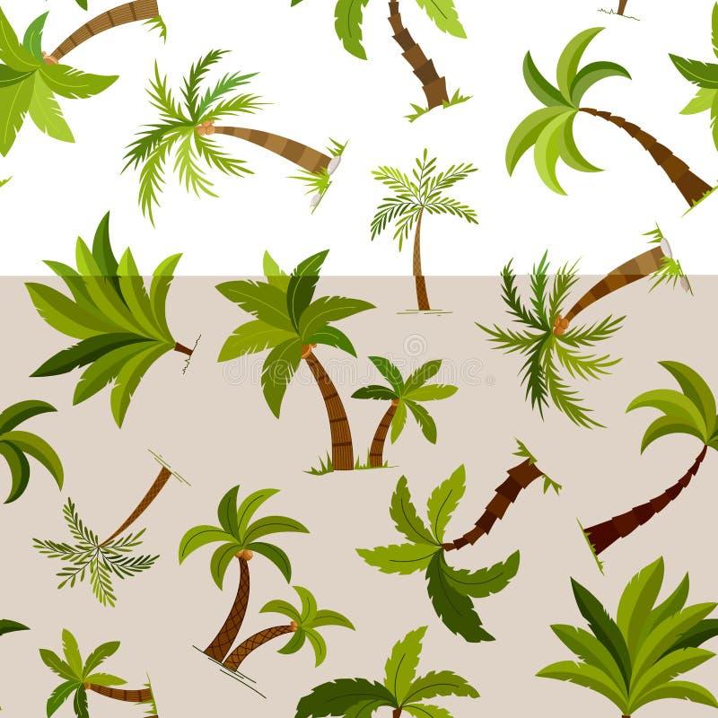 Fundo sem emenda das palmeiras Ilustração bonita do vetor de matéria têxtil da árvore do palma do vetor ilustração stock