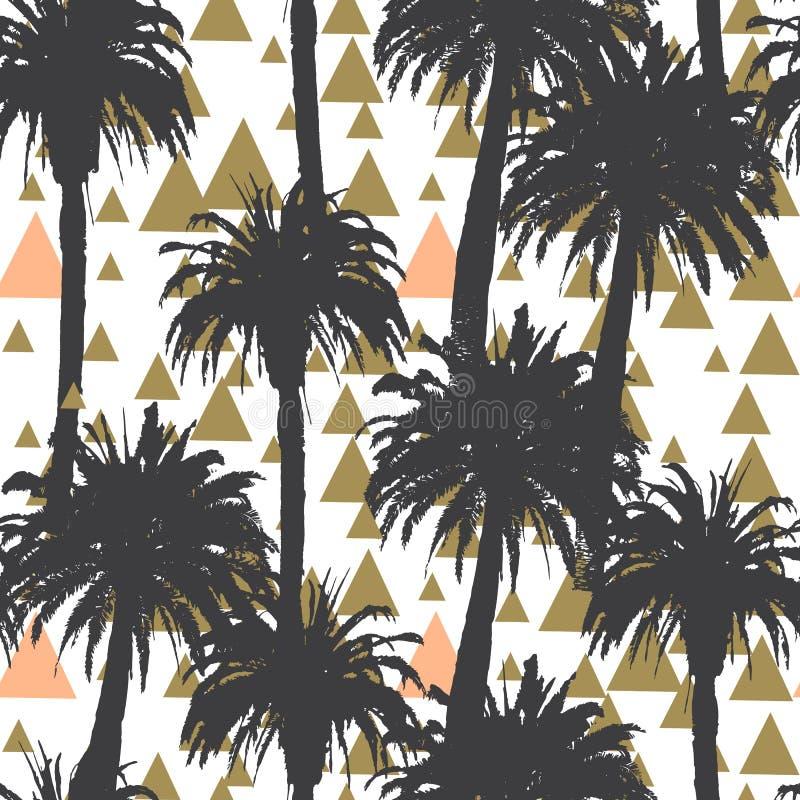 Fundo sem emenda das palmeiras tropicais ilustração do vetor