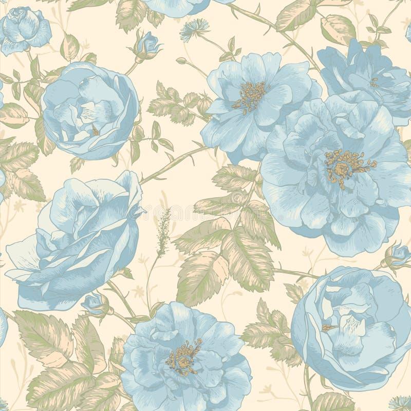 Fundo sem emenda das rosas do vintage bonito ilustração do vetor