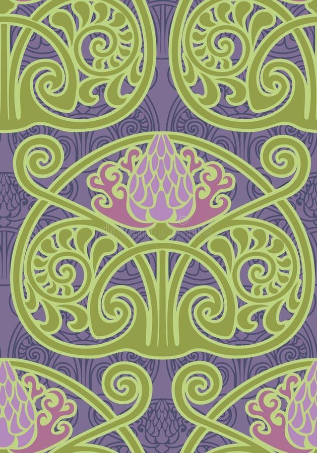 Fundo sem emenda de Art Nouveau Thistle ilustração royalty free