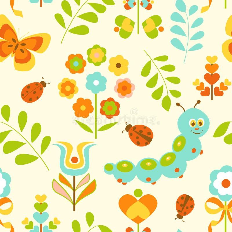 Fundo sem emenda de Caterpillar e das flores ilustração do vetor
