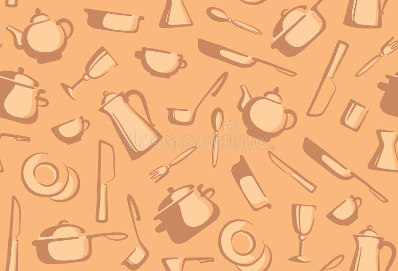Fundo sem emenda de mercadorias da cozinha ilustração do vetor