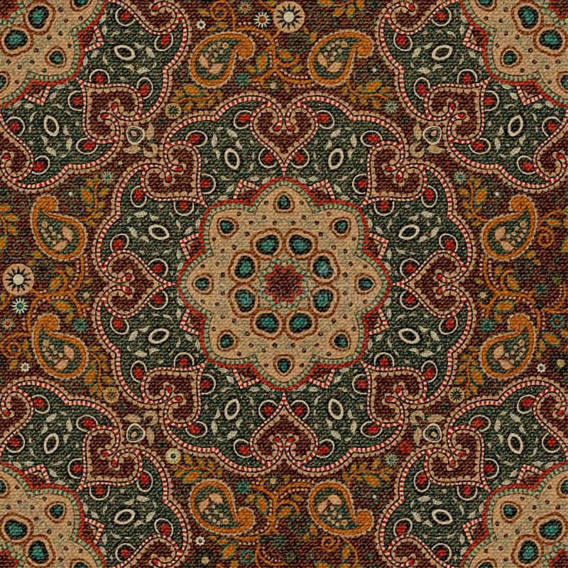 Fundo sem emenda de Paisley, teste padrão floral Fundo decorativo colorido Ornamento indiano Ornamento indiano bonito ilustração stock
