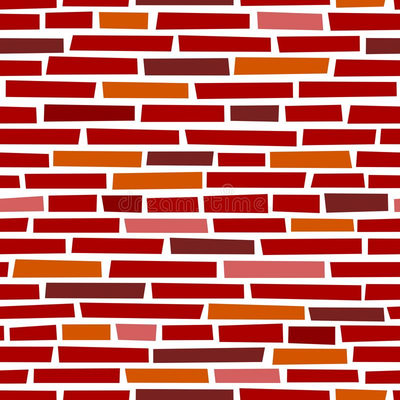 Fundo sem emenda de pedra vermelho do vetor da parede de tijolo ilustração stock