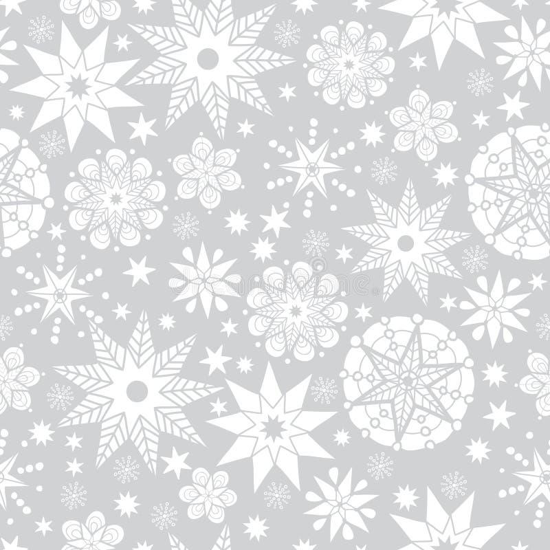 Fundo sem emenda de prata do teste padrão do cinza do vetor e as brancas da garatuja das estrelas abstratas Grande para a tela el ilustração royalty free