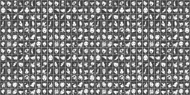 Fundo sem emenda de retratos fêmeas em preto e branco ilustração do vetor