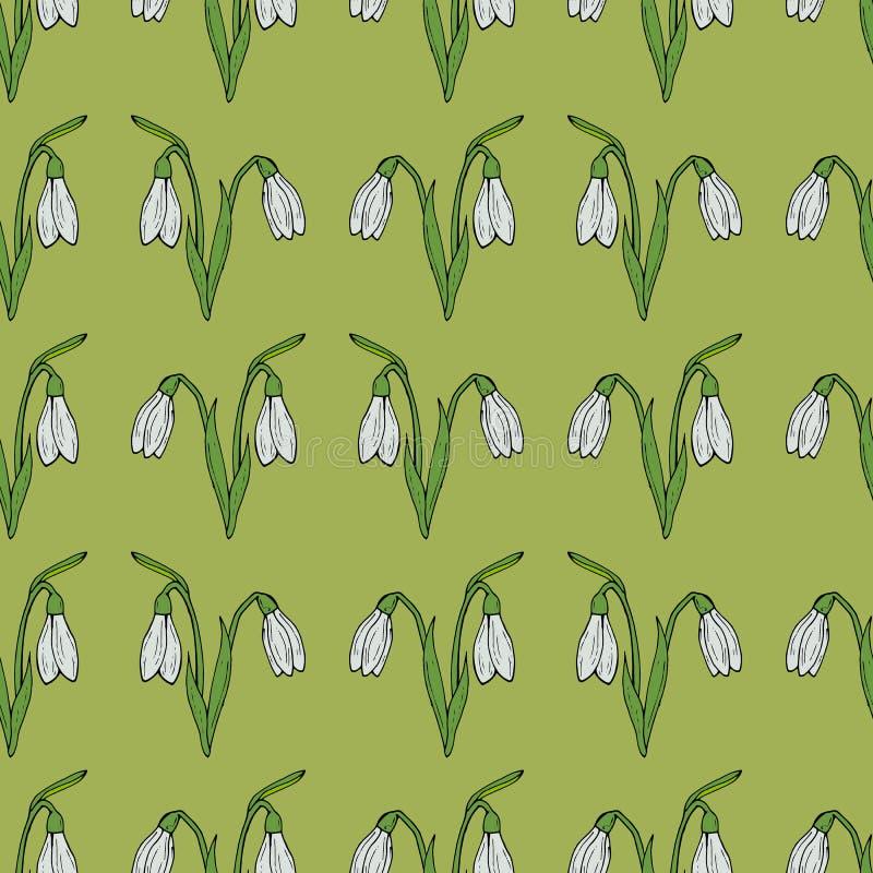 Fundo sem emenda de snowdrops do vetor no fundo verde ilustração royalty free
