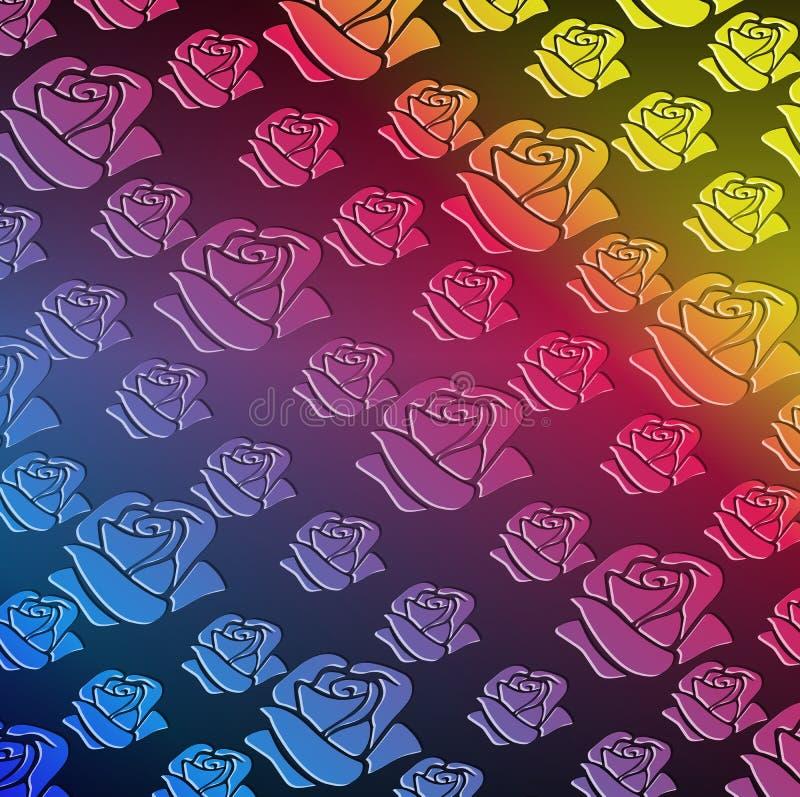 Fundo sem emenda do arco-íris do teste padrão das rosas ilustração royalty free