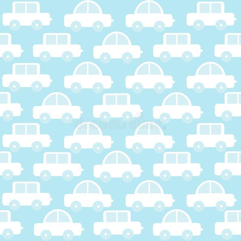 Fundo sem emenda do bebê azul com carros dos desenhos animados ilustração stock