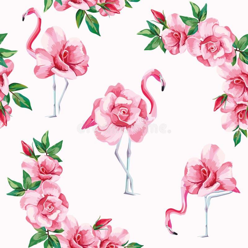 Fundo sem emenda do branco do teste padrão das rosas do flamingo ilustração stock